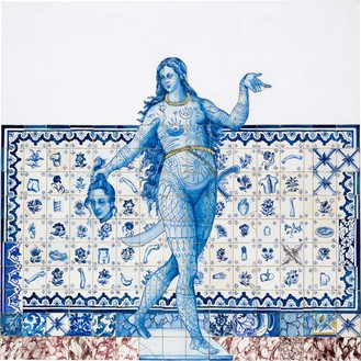 Adriana Varejão, Figura de Convite III, 2005 Oil on canvas, 78 ¾ × 78 ¾ inches (200 × 200 cm)© Adriana Varejão