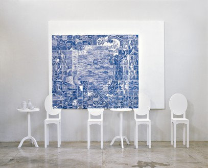 Adriana Varejão, Tea and Tiles II, 1997 Oil on canvas, wood, and porcelain, in 16 parts, overall: 102 ⅜ × 145 ¾ × 19 ¾ inches (260 × 370 × 50 cm)© Adriana Varejão