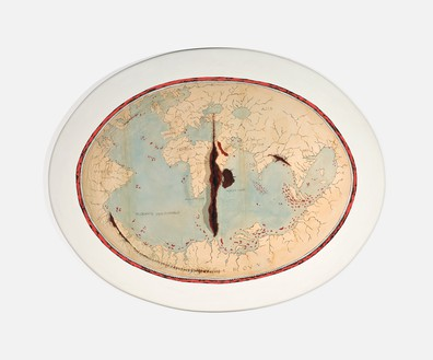 Adriana Varejão, Map of Lopo Homem II, 1992–2004 Oil on wood with suture thread, 43 ⅜ × 55 × 4 inches (110 × 140 × 10 cm)© Adriana Varejão