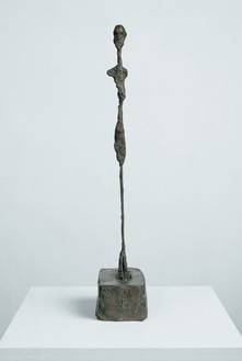 Alberto Giacometti, Femme debout, c. 1961 Bronze, 17 ⅞ × 3 ¼ × 4 ⅜ inches (45.4 × 8.2 × 11.4 cm), edition 5/8, cast: Fonte Susse (1993)© 2018 Alberto Giacometti Estate/Licensed by VAGA and ARS, New York