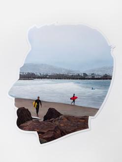 Alex Israel, Self-Portrait (Three Surfers), 2017 Acrylic and Bondo on fiberglass, 96 × 84 × 4 inches (243.8 × 213.4 × 10.2 cm), Hirshhorn Museum and Sculpture Garden, Washington, DC© Alex Israel