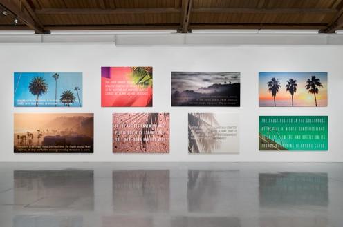 Installation view, Alex Israel | Bret Easton Ellis, Gagosian, Beverly Hills, 2016 Artwork © Alex Israel and Bret Easton Ellis. Photo: Jeff McLane