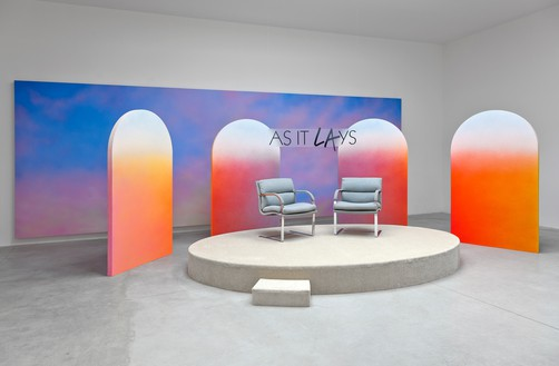 Alex Israel, As It Lays, 2012 Mixed media, including flats, stage, Sky Backdrop painting, and sign, Museum of Contemporary Art, Los AngelesInstallation view, Le Consortium, Dijon, France, 2013© Alex Israel
