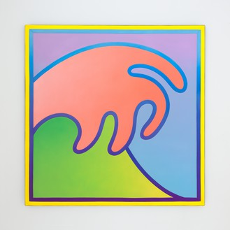 Alex Israel, Wave, 2018 Acrylic on fiberglass, 96 ½ × 96 ½ inches (245.1 × 245.1 cm), Art Gallery of Western Australia, Perth© Alex Israel