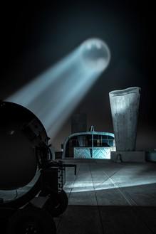 Alex Israel, Bat-Signal, 2019 Rented WWII-era spotlight modified with Batman logo, dimensions variableInstallation view, MAMO–Marseille Modulor, France© Alex Israel
