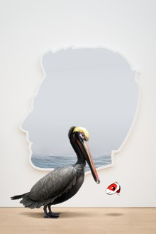 Alex Israel, Self-Portrait (Pelican with Fish), 2019 Acrylic and Bondo on fiberglass with Snapchat augmented reality Lens, dimensions variable© Alex Israel