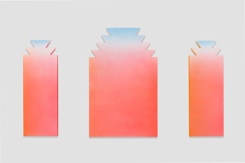 Alex Israel, Untitled (Flats), 2014–15 Acrylic and stucco on aluminum, in 3 parts, left and right, each: 84 × 30 inches (213.4 × 76.2 cm), center: 96 × 60 inches (243.8 × 152.4 cm), Solomon R. Guggenheim Museum, New York© Alex Israel