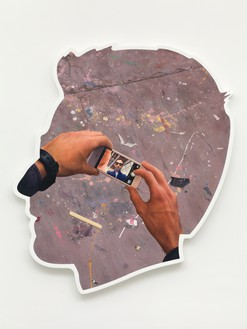 Alex Israel, Self-Portrait (Selfie and Studio Floor), 2014 Acrylic and Bondo on fiberglass, 96 × 84 × 4 inches (243.8 × 213.4 × 10.2 cm), The Broad, Los Angeles© Alex Israel