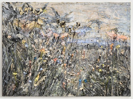 Anselm Kiefer, Paul Celan: wir schöpften die Finsternis leer, wir fanden das wort, das den Sommer heraufkam: Blume; (We scooped the darkness empty, we found the word that ascended summer: flower), 2012 Oil, emulsion, acrylic, on photograph on canvas, 110 ¼ × 149 ⅝ inches (280 × 380 cm )© Anselm Kiefer