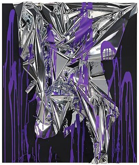 Anselm Reyle, Untitled, 2010 Mixed media on canvas, acrylic glass, 56 ⅜ × 47 ¾ × 7 ⅜ inches, (143 × 121 × 18 ½ cm)