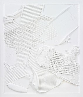 Anselm Reyle, White Earth, 2010 Mixed media on canvas, steel frame, effect lacquer, 58 ⅜ × 50 inches framed (148 × 127 cm)