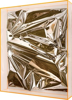 Anselm Reyle, Untitled, 2012 Mixed media on canvas, acrylic glass, 59 1/16 × 49 ⅝ × 9 1/16 inches (150 × 126 × 23 cm)