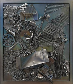 Anselm Reyle, Mystic Silver, 2011 Mixed media on canvas, steel frame, effect lacquer, 5 1/16 × 44 15/16 inches, framed 58 ⅜ × 49 15/16 inches, (135 × 114 cm, framed 148 × 127 cm)