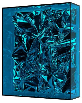 Anselm Reyle, Untitled, 2010 Mixed media on canvas, acrylic glass, 29 ⅛ × 24 13/16 × 7 ⅛ inches (71.5 × 60.5 × 20 cm)