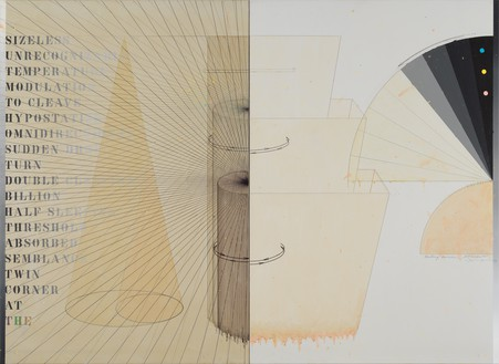 Arakawa, Waiting Voices, 1976–77 Acrylic, graphite, marker, and varnish on canvas and linen, in 2 parts, overall: 70 × 96 inches (177.8 × 243.8 cm)© 2021 Estate of Madeline Gins. Reproduced with permission of the Estate of Madeline Gins