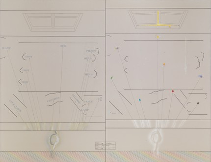 Arakawa, A Couple, 1966–67 Oil, acrylic, marker, and graphite on canvas, in 2 parts, overall: 95 × 124 inches (241.3 × 315 cm)© 2021 Estate of Madeline Gins. Reproduced with permission of the Estate of Madeline Gins. Photo: Rob McKeever