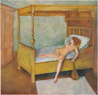 Balthus, Odalisque allongée, 1998–99 Oil on canvas, 88 ½ × 90 ½ inches (224.8 × 229.9 cm)