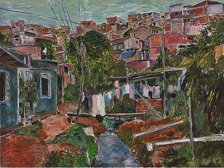 Bob Dylan, Favela Villa Broncos, 2009 Acrylic on stretched canvas, 42 × 56 inches (106.7 × 142.2 cm)