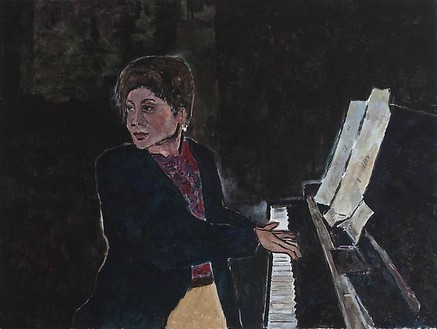 Bob Dylan, Piano Player, 2009 Acrylic on canvas, 36 × 48 inches (91.4 × 121.9 cm)