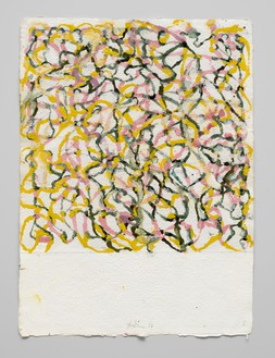 Brice Marden, Marrakech Drawing 6, 2017–18 Kremer ink and Kremer white shellac ink on Howell paper, 17 ⅛ × 12 ⅝ inches (43.5 × 32.1 cm)© 2018 Brice Marden/Artists Rights Society (ARS), New York