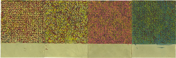Brice Marden, Early Seasons, 2010–11 Kremer ink on Rives BFK paper, in 4 parts, overall: 17 ½ × 52 ¼ inches (44.5 × 132.7 cm)© 2018 Brice Marden/Artists Rights Society (ARS), New York