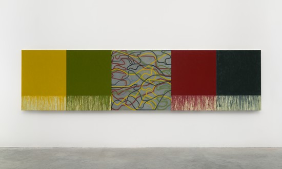 Brice Marden, Uphill with Center, 2012–15 Oil on linen, in 5 parts, overall: 48 × 192 inches (121.9 × 487.7 cm)© 2018 Brice Marden/Artists Rights Society (ARS), New York