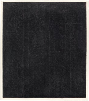 Brice Marden, Patent Leather Valentine, 1967 Wax and graphite over pastel on paper, 16 ½ × 14 ¾ inches (41.9 × 37.5 cm)© 2018 Brice Marden/Artists Rights Society (ARS), New York