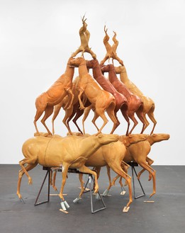 Bruce Nauman, Animal Pyramid, 1989 Polyurethane foam, iron, wood, and wire, 144 × 84 × 96 inches (366 × 213 × 244 cm)© 2015 Bruce Nauman/Artists Rights Society (ARS), New York