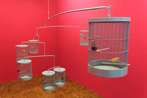 Carsten Höller, Singing Canaries Mobile, 2009 Powdercoated steel construction, wood, PVC, Dimensions variable