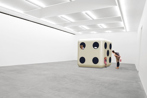 Carsten Höller, Dice (White Body, Black Dots), 2014 Glass reinforced polyester resin / fiberglass, and poplar plywood on expanded poly-styrene core and mechanical connectors, 94 ½ × 94 ½ × 94 ½ inches (240 × 240 × 240 cm)