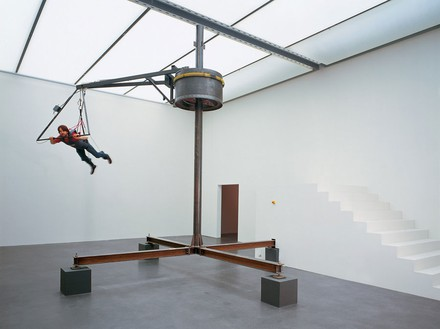 Carsten Höller, Flugmaschine (Flying Machine), 1996 Steel, electric motor, cable connections, paragliding harnews, grip, wood, Scanachrome on PVC, Approx. 196 ⅞ × 236 3/16 × 236 3/16 inches (500 × 600 × 600 cm)