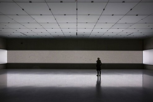 CARSTEN HÖLLER Light Room, 2008 Double LED lamps, aluminum sheeting, cables, controller system Dimensons variable Installation at Kunsthaus Bregenz, Austria, photo by Markus Tretter / Courtesy the artist/VBK, Vienna