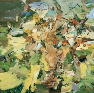 Cecily Brown, Figure in a Landscape, 2002 Oil on linen, 80 × 80 inches (203.2 × 203.2 cm)© Cecily Brown