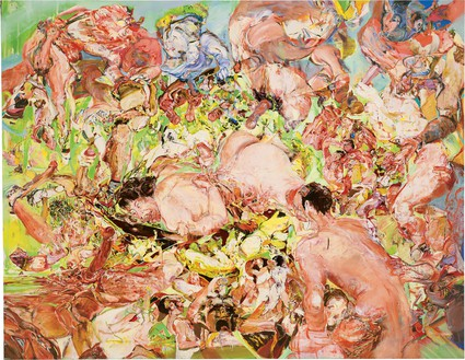 Cecily Brown, Seven Brides for Seven Brothers, 1997–98 Oil on linen, 76 × 98 inches (193 × 248.9 cm)© Cecily Brown
