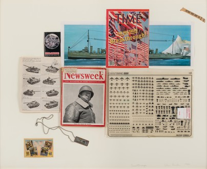 Chris Burden, Breakthrough, 1982 Printed paper collage, plastic, and aluminum dog tag on paper, 31 ½ × 39 ½ inches (80 × 100.3 cm)© 2018 Chris Burden/Licensed by the Chris Burden Estate and Artists Rights Society (ARS), New York