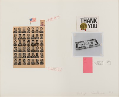 Chris Burden, Thank You, 1979 Black-and-white photograph, color photograph, nail, gold foil, fabric, painted paper collage, and felt-tip pen on board, 32 × 40 inches (81.3 × 101.6 cm)© 2018 Chris Burden/Licensed by the Chris Burden Estate and Artists Rights Society (ARS), New York