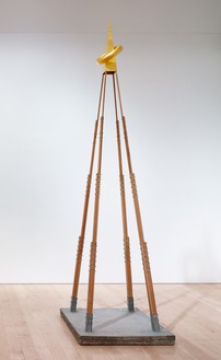 Chris Burden, Sex Tower (Architectural Model of 125 Foot High Sex Tower), 1976 Cement, wood, metal screws, and gold leaf, 133 ½ × 36 ¼ × 37 ¾ inches (339.1 × 92.1 × 95.9 cm)© 2018 Chris Burden/Licensed by the Chris Burden Estate and Artists Rights Society (ARS), New York