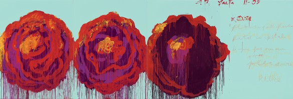 Cy Twombly, The Rose (IV), 2008 Acrylic on wood panel, 99 ¼ × 291 ⅜ inches (252 × 740 cm)© Cy Twombly Foundation