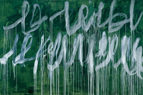 Cy Twombly, Note III, 2005–07 Acrylic on wood panel, 96 × 144 inches (243.8 × 365.8 cm)© Cy Twombly Foundation