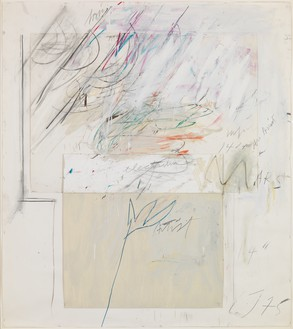 Cy Twombly, Mars and the Artist, 1975 Oil, wax crayon, charcoal, and pencil with drawing paper, cardboard, and staples on paper, 55 ⅞ × 50 ¼ inches (142 × 127.5 cm)© Cy Twombly Foundation