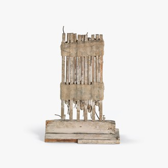 Cy Twombly, Untitled, 1953 House paint and wax on fabric and wood with twine, wire, and nails, 15 ¼ × 9 ⅞ × 4 inches (38.7 × 25 × 10.2 cm)© Cy Twombly Foundation