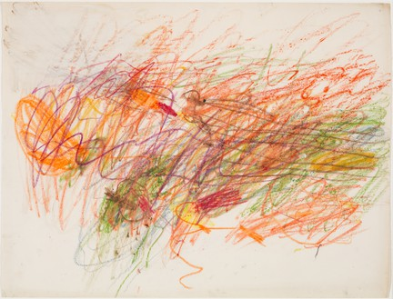 Cy Twombly, Untitled, 1954 Wax crayon, gouache, and colored pencil on paper, 19 × 25 inches (48.2 × 63.5 cm), Museum of Modern Art, New York© Cy Twombly Foundation