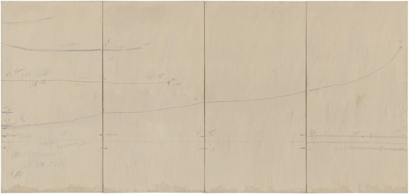 Cy Twombly, Veil of Orpheus, 1968 House paint, crayon, and graphite pencil on primed canvas, 90 × 192 inches (228.6 × 487.7 cm)© Cy Twombly Foundation