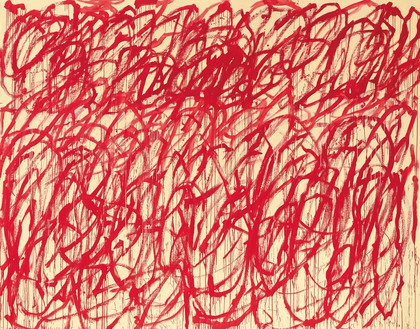 Cy Twombly, Bacchus, 2006–08 Acrylic on canvas, 124 ⅞ × 159 ⅛ inches (317 × 404.2 cm), Cy Twombly Foundation© Cy Twombly Foundation