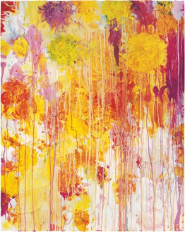 Cy Twombly, Untitled, 2001 Acrylic, wax crayon, and cut-and-pasted paper on paper, 48 ⅞ × 39 inches (124 × 99 cm)© Cy Twombly Foundation. Photo: Rob McKeever