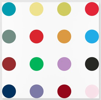 Damien Hirst, Isonicotinoyl Chloride, 2005 Household gloss on canvas, 84 × 84 inches (213.4 × 213.4 cm)© Damien Hirst and Science Ltd. All rights reserved, DACS 2018