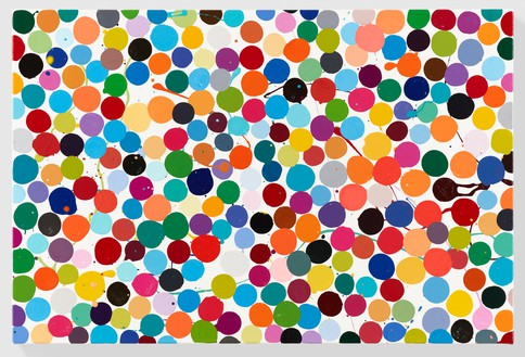 Damien Hirst, Grapefruit, 2016 Household gloss on canvas, 16 × 24 inches (40.6 × 61 cm)© Damien Hirst and Science Ltd. All rights reserved, DACS 2018