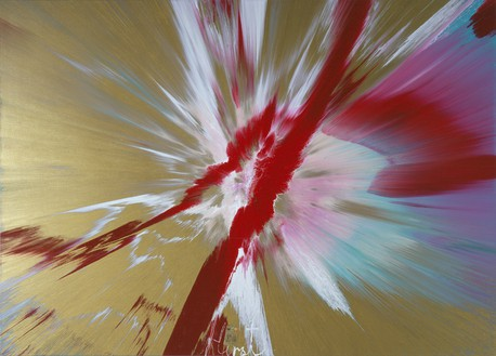 Damien Hirst, Beautiful Bleeding Wound Over the Materialism of Money Painting, 2005 Household gloss and credit card on canvas, 60 × 84 inches (152.4 × 213.4 cm)© Damien Hirst and Science Ltd. All rights reserved, DACS 2018
