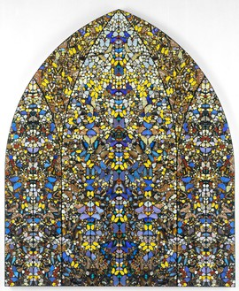 Damien Hirst, Aubade – Crown of Glory, 2006 Butterflies and household gloss on canvas, 115 ⅞ × 96 ⅛ inches (294.2 × 244.1 cm)© Damien Hirst and Science Ltd. All rights reserved, DACS 2018