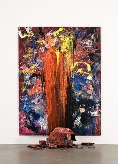 Dan Colen, Hand of Fate, 2011 Trash and paint on canvas, 126 × 97 × 2 inches (320 × 246.4 × 50.8 cm)© Dan Colen